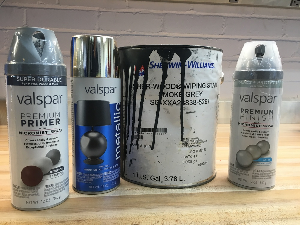 From left to right:gray primer, metalic gold, wiping stain and clear coat