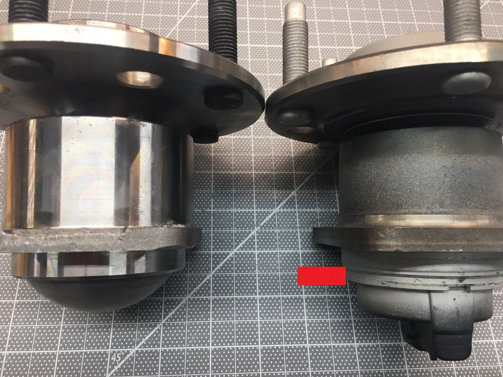 Original on left and Timken on right