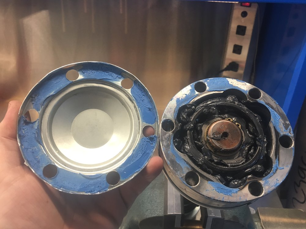 Cap on the left and CV joint on the right