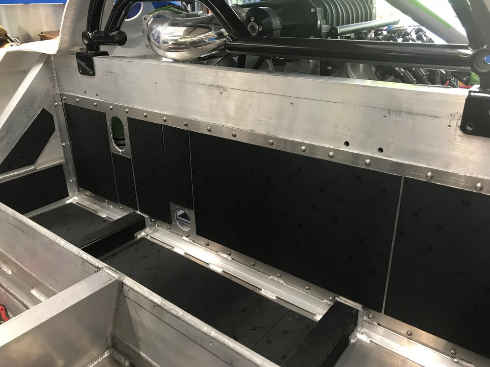 Sound deadener applied to fuel compartment