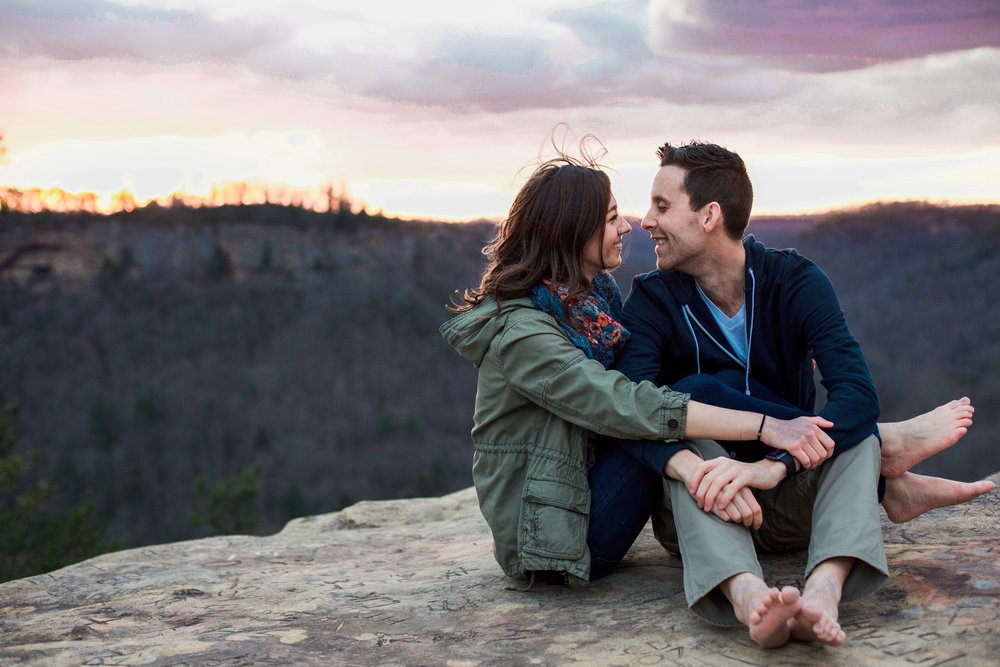 Dustin + Gabi's Red River Gorge Sunset Engagement
