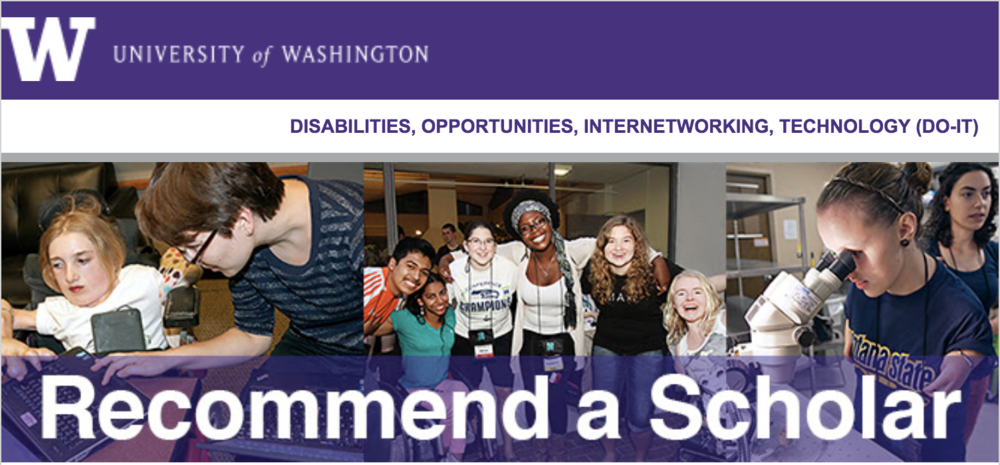 Recommend a Student with a Disability for the DO-IT Scholars Program