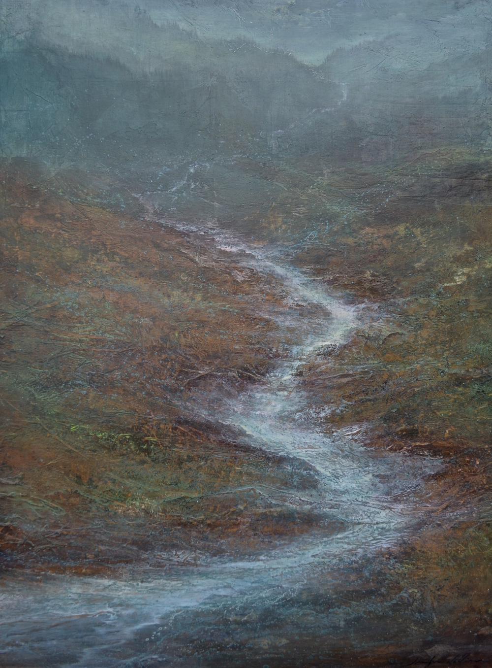 "Ephemeral Stream, 48""X36"", Collection of the Scripps Institute, La Jolla, Ca"