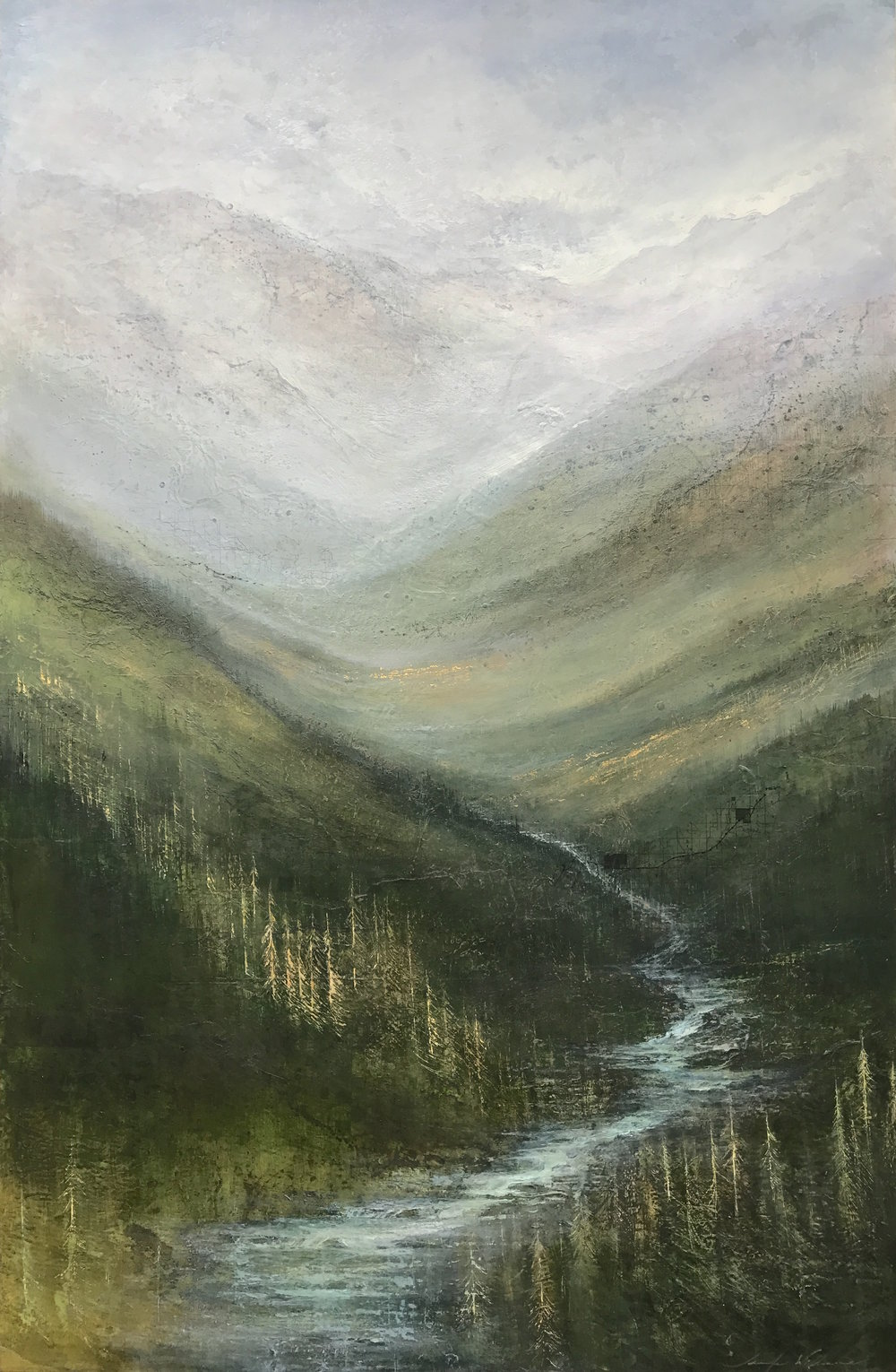 "Headwaters , 60""x40"" mixed media on wood ~ SOLD"