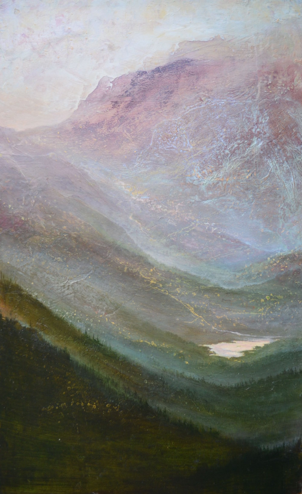 "Mountains Wait , 37""x23"" mixed media on wood ~ SOLD"