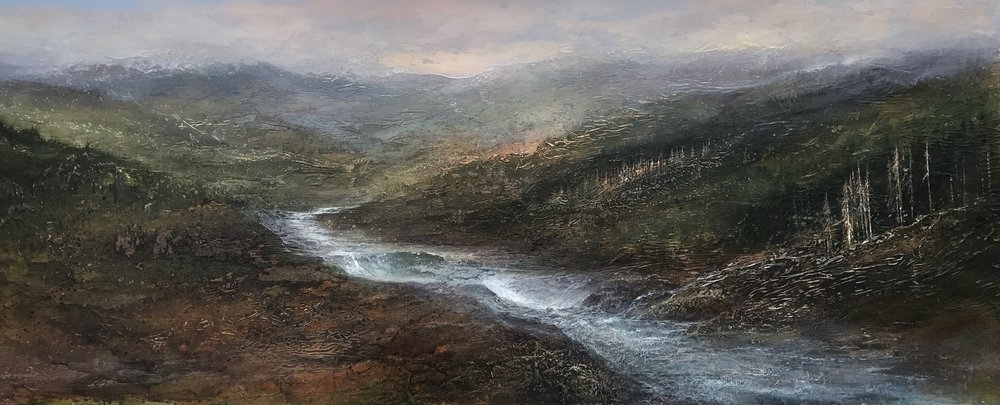 "Cedar Falls , 24""x60"", mixed media on wood, sold"