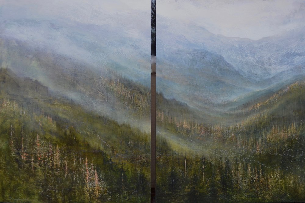 "Tamarack Trails,  diptych 42"" x 60"", private commission-sold"