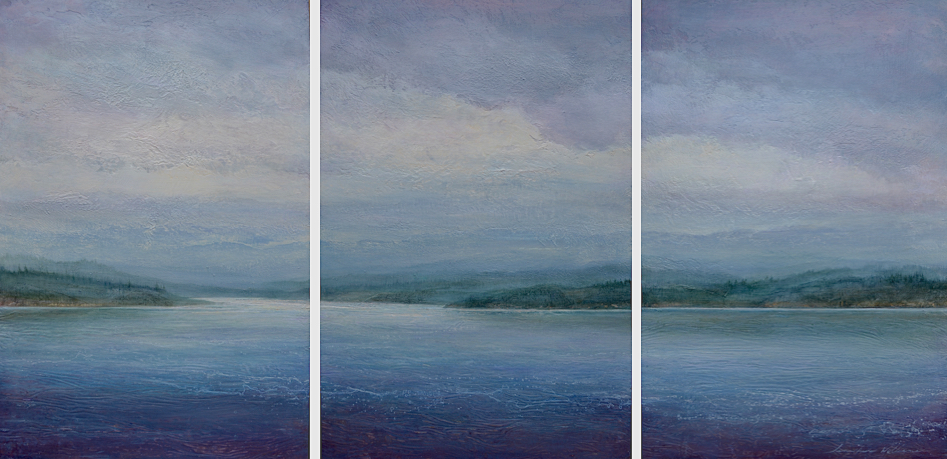"At Bay , triptych 36""x 72"", mixed media on wood"