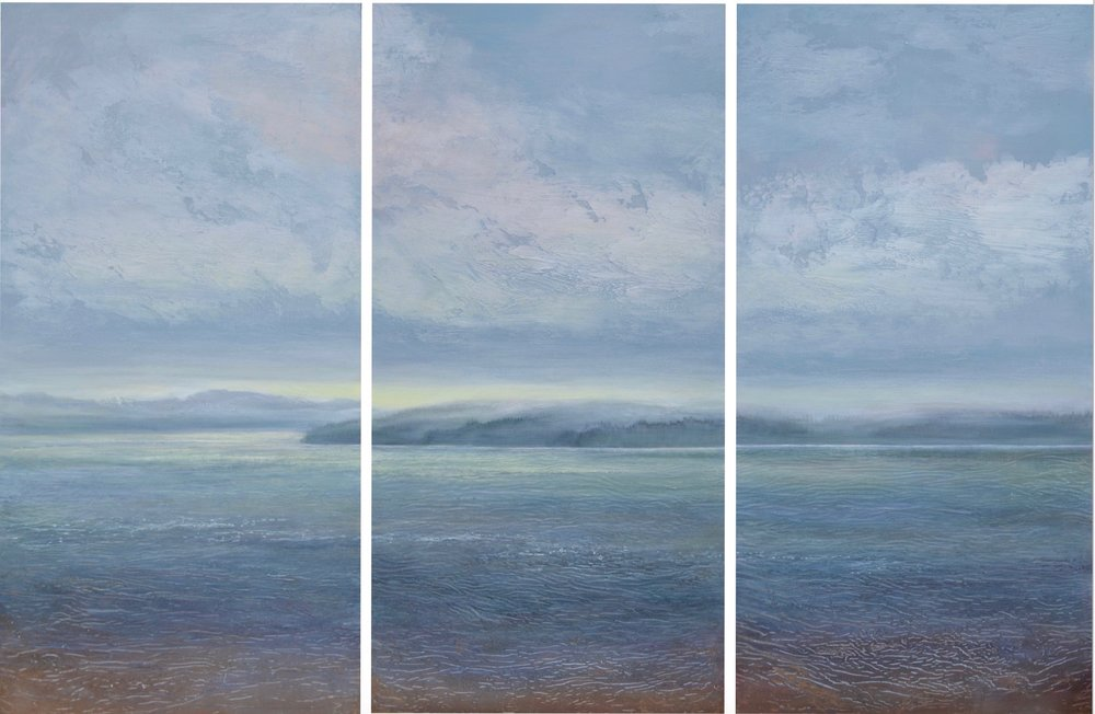 "Daybreak , triptych 48"" x 72"", mixed media on wood  -sold"