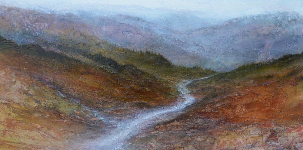 "Mineral Creek , 30"" x 60"", mixed media on wood  -sold"