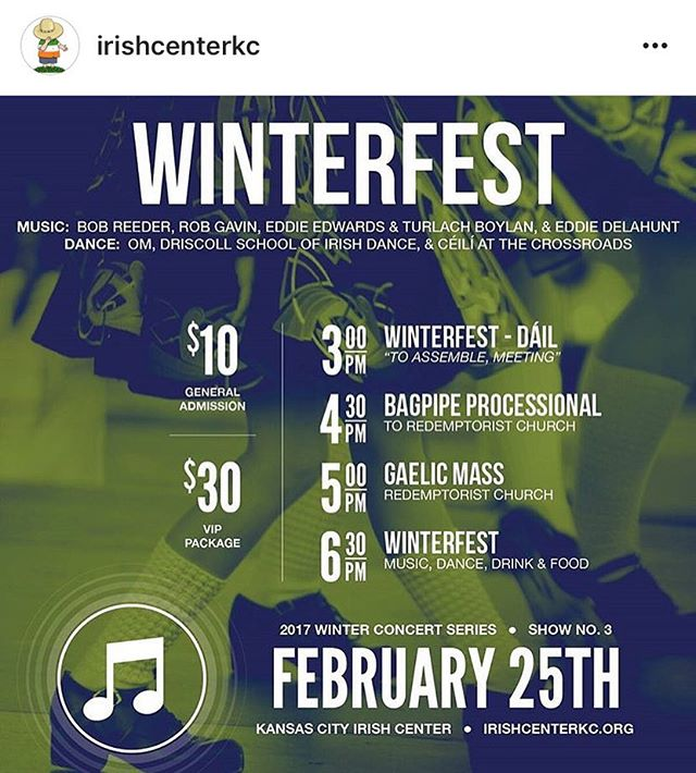 Winter Fest at @irishcenterkc is coming up on Feb. 25! We'll be there along with a whole slew of awesome musicians and dancers. Put it on your calendar and we'll see you there! ☘️❄️☘️