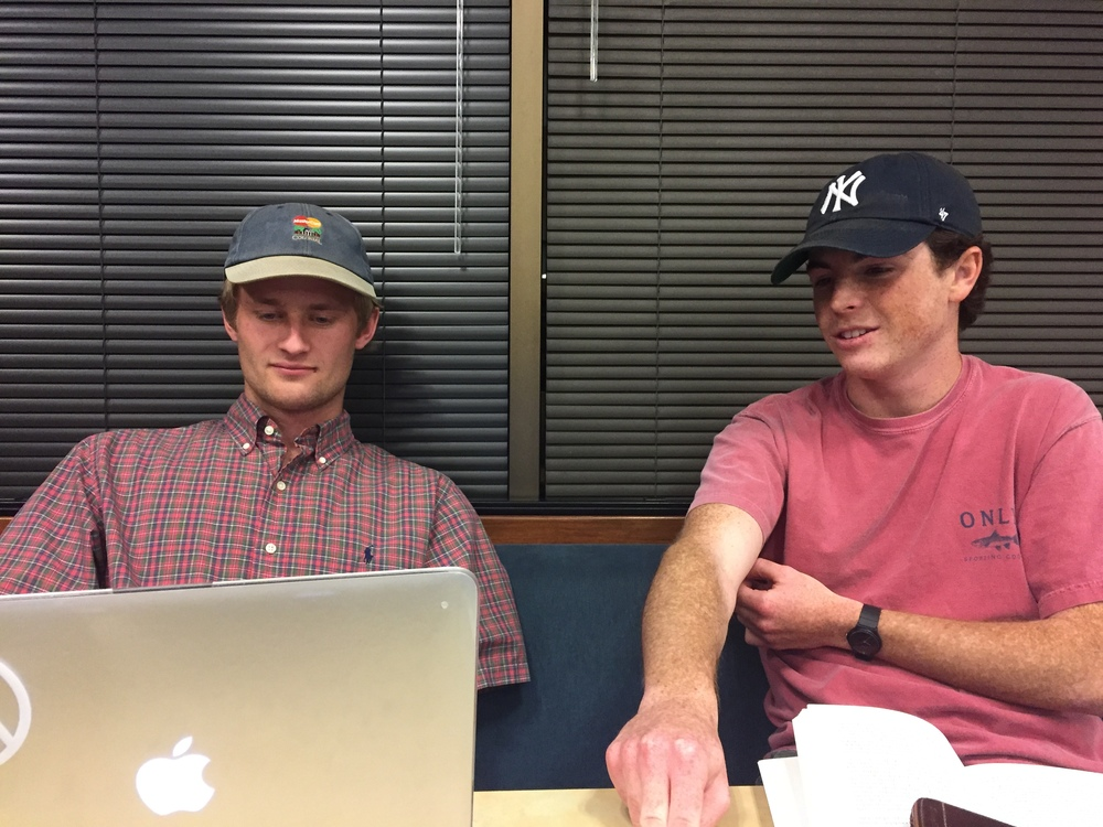 Riley and Garrett, attempting to get our mojo on during a late night study in preparation for finals. This photo explains how that night turned out.