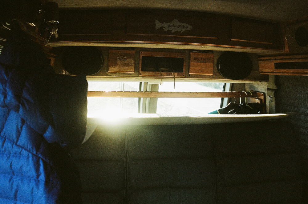 I liked how the sunlight reflected off my surfboard and lit up all the small details in my van.