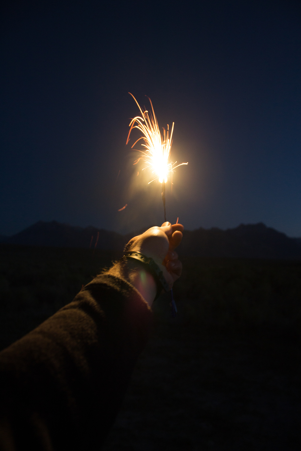 Celebrating the 4th on our first day in the mountains. We hiked a nearby hill from our camp and watched the Bishop firework show all the way from Owens Valley.