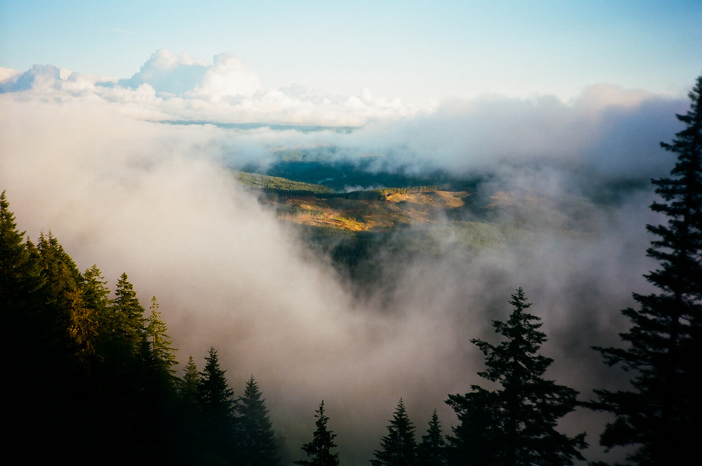 Hiking through the mountains was on my list of to-do's. The possibilities are endless in the Pacific Northwest. Here's a photo of the fog parting perfectly over miles of national forest and logging roads.