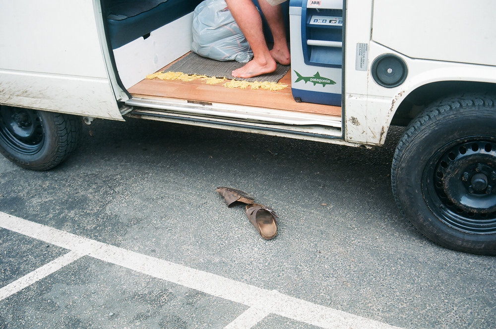 Caleb's impressively worn in Birkenstocks.