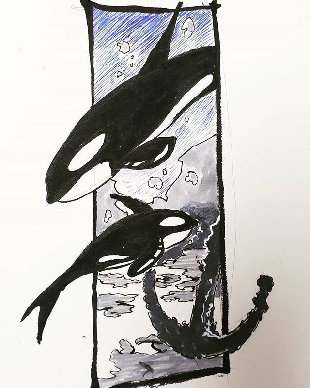 Inktober Day 12: (killer) whale.🐳🐋 Posting this a head kf time cos travling makes time wonky . . . . . . . . . . . #inktober2018 #inktober #whale #ocean #artistsoninstagram #art #ink #drawing #whales #🐳