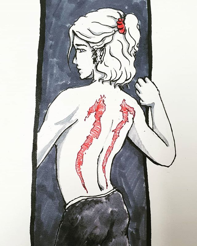 Inktober Day 11: cruel. A character ive had for a while.now. inflicted with cruel scars. Been a while simce i drew figuress. Also.ipl post a say ahead cos ill b e traveling  it makes the inktober go all wonky and i dont want that . . . . . . . . . . . #cruel #inktober2018 #inktober2018 #ink #art #artistsoninstagram #boy #nsfw #nsfwish #boy #scars #triggerwarning