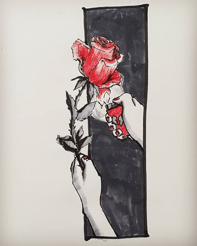 Inktober Day15: Weak (delicate) Don't play with fire. Its a delicate balance, love. .. . . .. Aaaaa half way thereee omgomgomg . . . . . . . . #inktober2018 #inktober #ink #penandink #pen #art #artistsoninstagram #rose #aflame #weak #delicate #red #ink #aesthetic #love #heartbreak #drawing #🔥 #🌹 #🥀