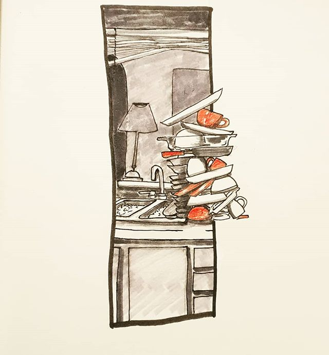 Inktober Day 20: breakable Dishes suckkkkk. Delayed dishes suck even more..... but you cant live without them. . . . . . . . . . . . . . . #inktober2018 #inktober #art #ink #artistsoninstagram #drawing #penandink #pen #kitchen #dishes #breakable #home