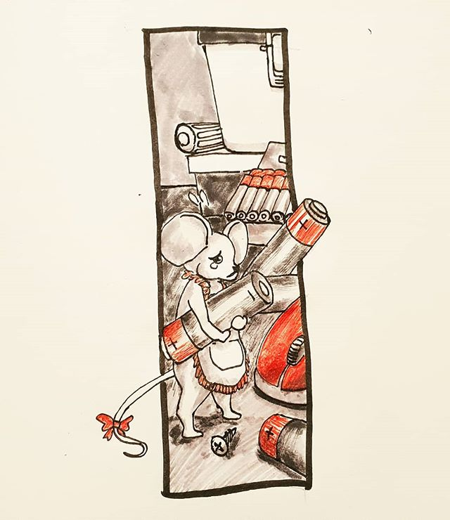 Day 21: drained.... Ms. Mouse is trying so hard to revive her friend Mr.Mouse. hes drained of batteries currently .. . . . . .. . . . #art #inktober2018 #inktober #drawing #mouse #art #artistsoninstagram #battery #batteries #cute #drained #fun #penandink #pen