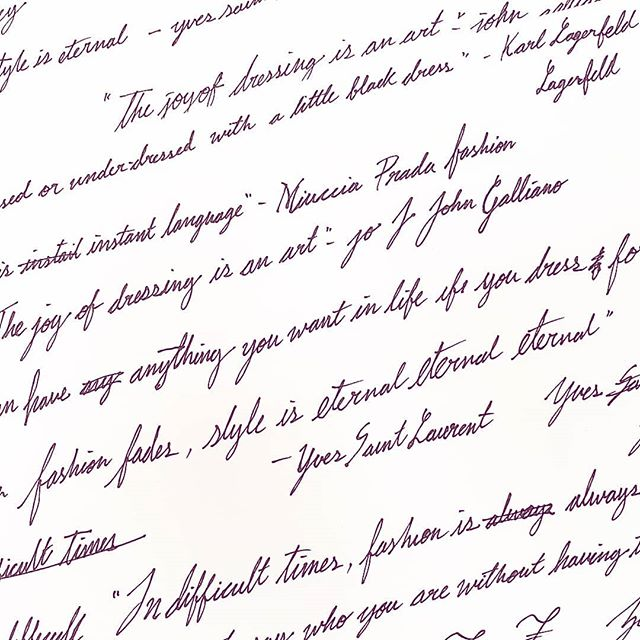 Throwback thursday!  Now that its been submitted and released, I have all of these practice sheets of cursive leftleft. Look at all of these fashion quotes! Look at all these mistakes i made spelling hahaha...hahhhh!  Its cool stuff. . . . . . . . . . . . . . #calligraphy #handlettering #cursive #practice #penandink #tbt #fashionquotes #fashion