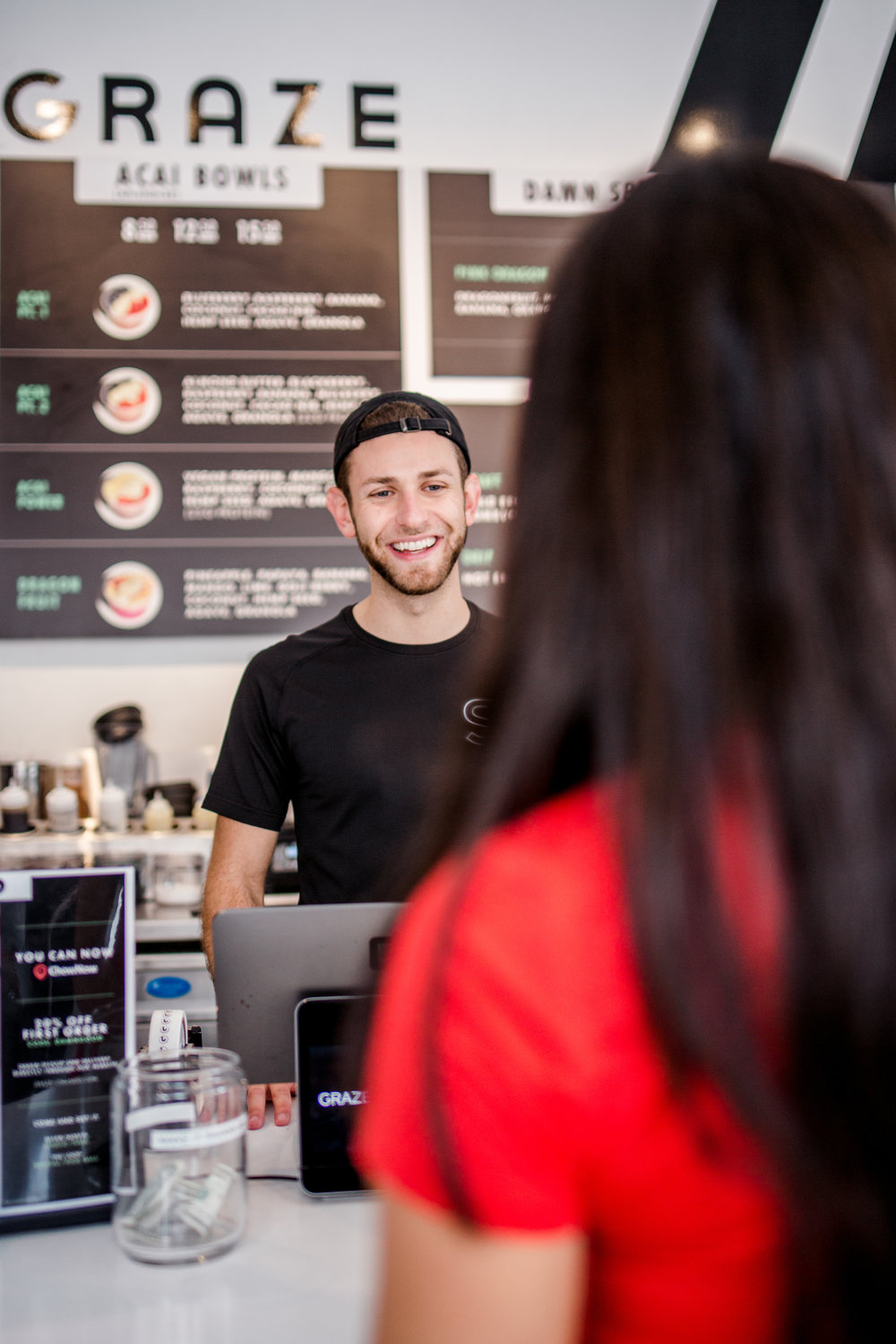 MEET MASON - Mason Edelson grew up in Chicago's north suburbs, starting his restaurant career at eight years of age, cooking meals in his parent's kitchen. SINCE THEN, HE HAS WORKED IN SEVEN DIFFERENT RESTAURANTS AND holds a degree in Hospitality. MASON FUELS HIS PASSION FOR FOOD THROUGH the creation of graze's HEALTHful menu. AS AN AVID fitness LOVER, HE ASPIRES TO CULTIVATE AWARENESS OF BODY POSITIVITY THROUGH COMMUNITY CONNECTION AND #DAMNGOOD SUSTENANCE.