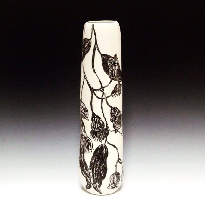 Tall Native Botanical Vase featuring Eucalyptus blossoms