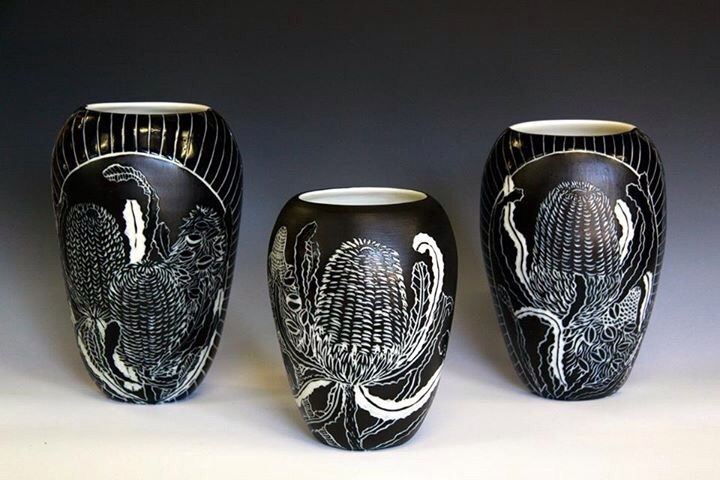 A new series of banksia vases in black and white sgraffito from my Native Botanical Collection