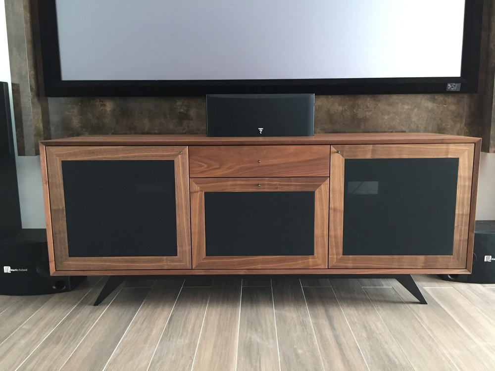 A bigger version of our signature Walnut veneer TV console on black powder coated steel legs.