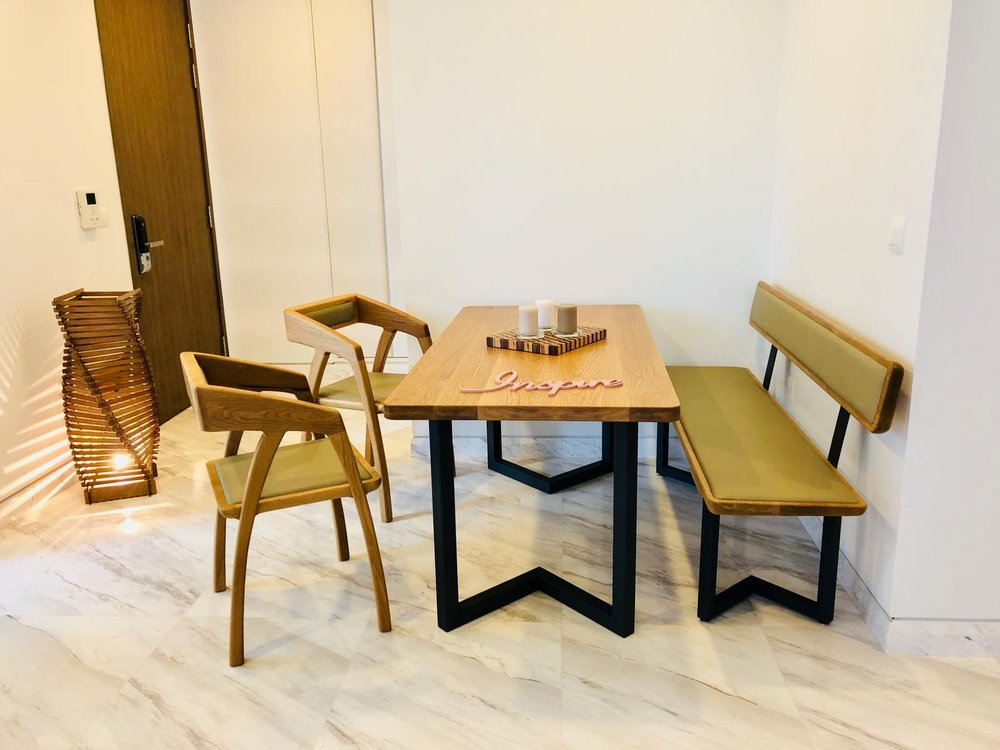 The entire 4 piece dining set made with Solid Oak.