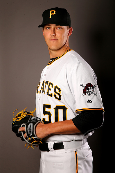 Hopefully Jameson Taillon can do more for the Pirates this year than pose for pictures. Courtesy Elsa/Getty Images.