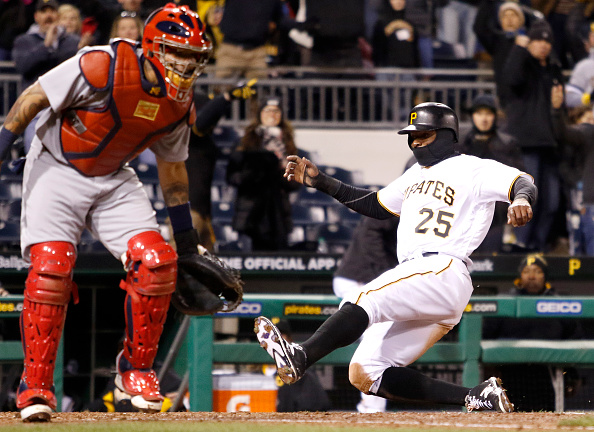 Polanco scores the winning run in the eleventh. Courtesy Justin K. Aller/Getty Images.