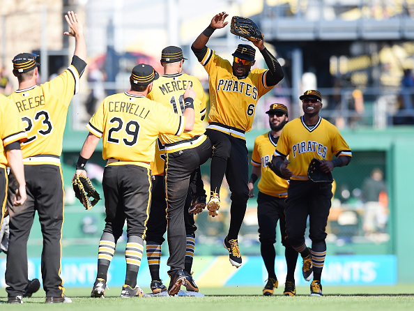 Pirates looking fly in the 1979 throwbacks. Courtesy Joe Sargent/Getty Images.