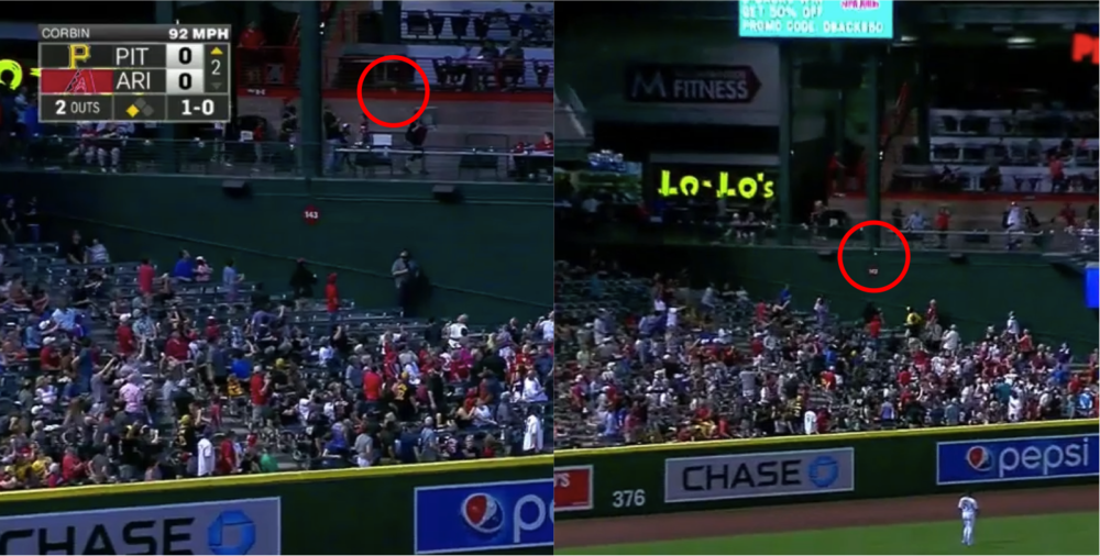 Sean Rodriguez's homer on the left, Jordy Mercer's on the right. Balls are circled in red at their landing spots.