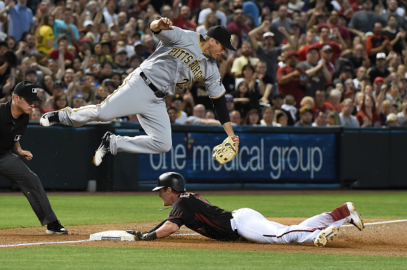 This picture isn't even from this game, but I just put it here because David Freese played well today and it's a cool picture. Courtesy Norm Hall/Getty Images.