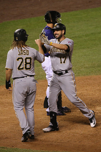 Matt Joyce's dinger in the seventh put the Bucs up 5-0. Courtesy Doug Pensinger/Getty Images.