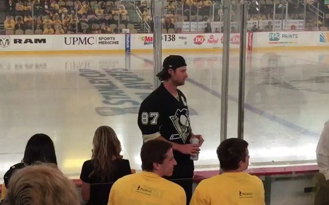 Gerrit Cole crushing Miller Lite at the Pens game before yelling at the Caps. The only way this could be better is if it was an IC Light. Courtesy @AmandaJupena.