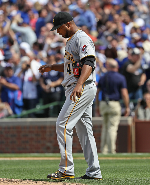 Liriano bumming out after giving up a three run homer. Courtesy Jonathan Daniel/Getty Images.