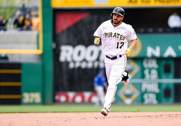 Matt Joyce in the trot after one of his pinch hit home runs this year. Courtesy Justin Berl/Getty Images.