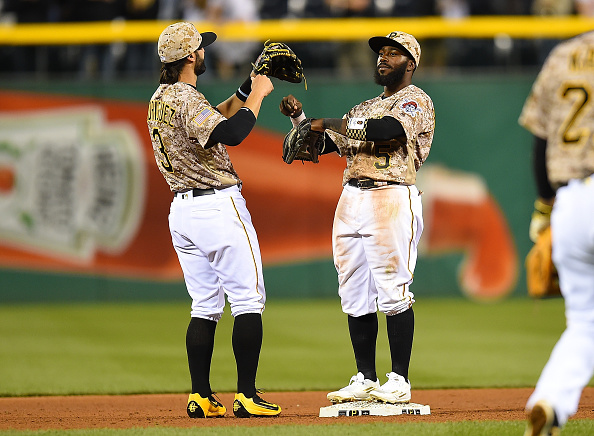 Sean Rodriguez and Josh Harrison celebrate a win over the Braves this week. Courtesy Joe Sargent/Getty Images.