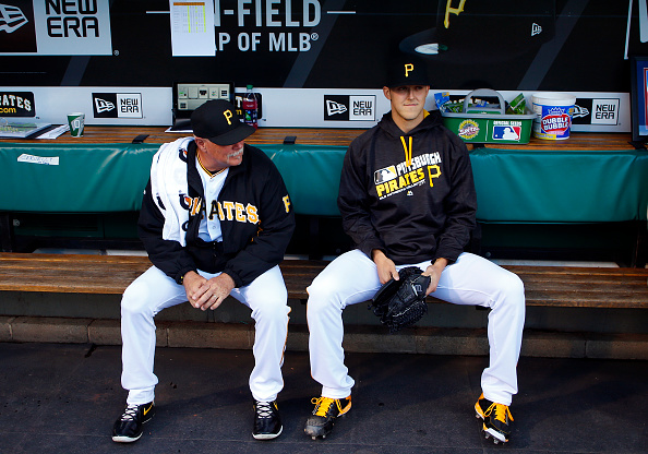 Jameson Taillon and his new best friend. You're gonna go far, kid. Courtesy Justin K. Aller/Getty Images.