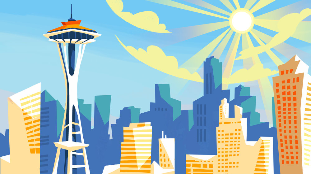 Seattle Background Illustration