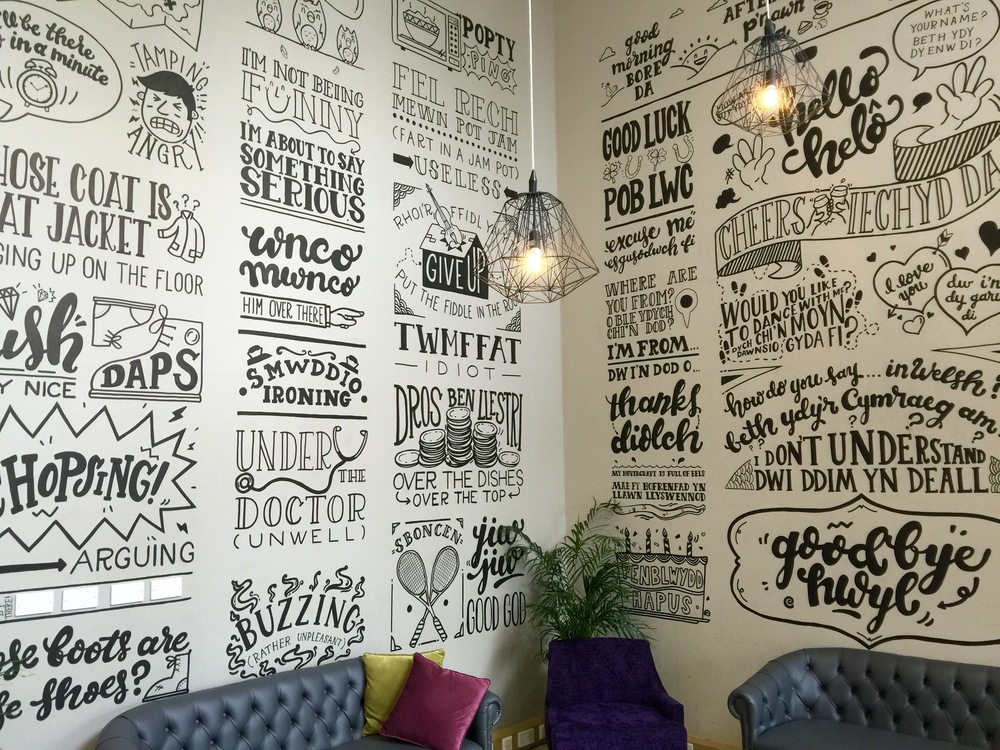 From the reception area in the YHA Cardiff featuring  a fascinating way to start learning Welsh!