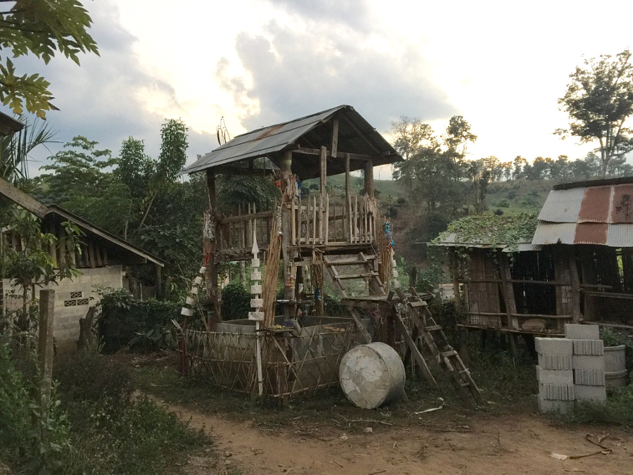 A communal and important central building for a Palong Hill tribe village near Chiang Mai, Thailand.