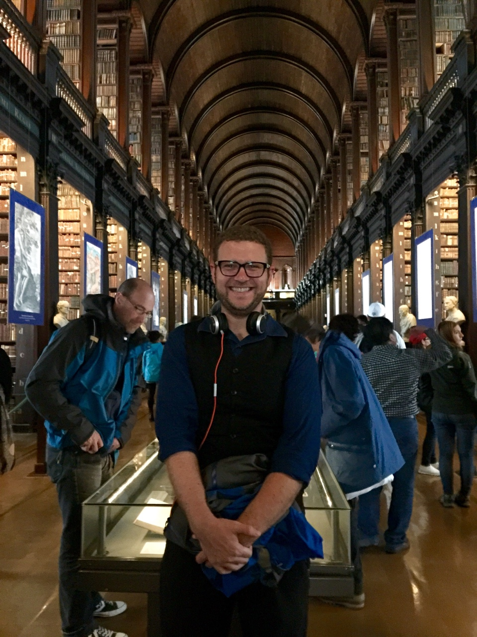 "Dublin, Ireland    Went to visit the Book of Kells, and was really blown away by the spectacular collection in Trinity college's ""Long Room."""