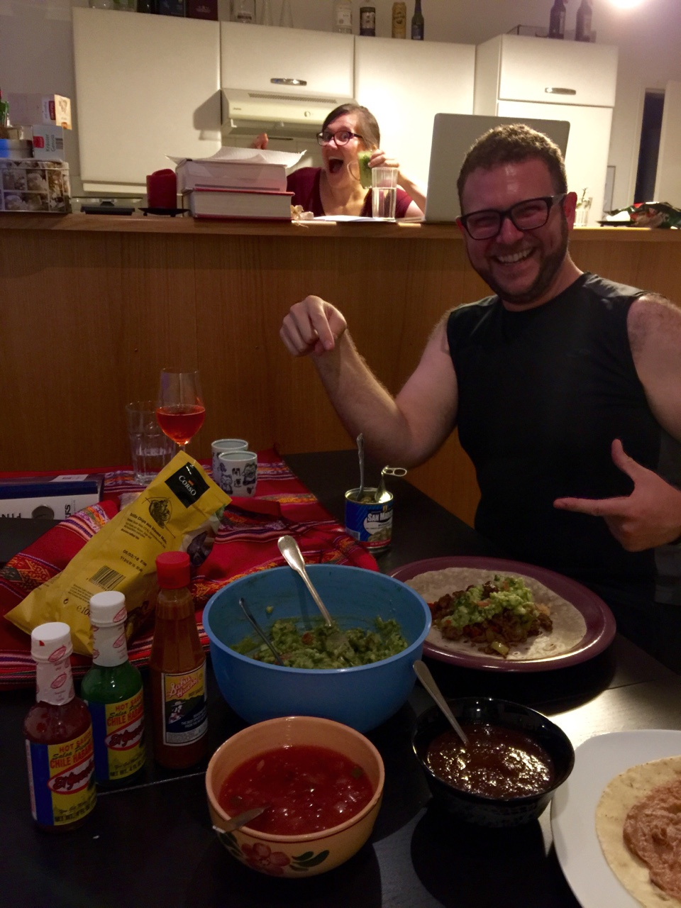 Vienna, Austria    I have been *craving* Mexican food for months. Rather than take a chance with subpar international substitutes, we made it ourselves! Big thanks to my friend, M, who brought back fresh tortillas from Arizona for the occasion.    (photobomb courtesy of Ms. X)