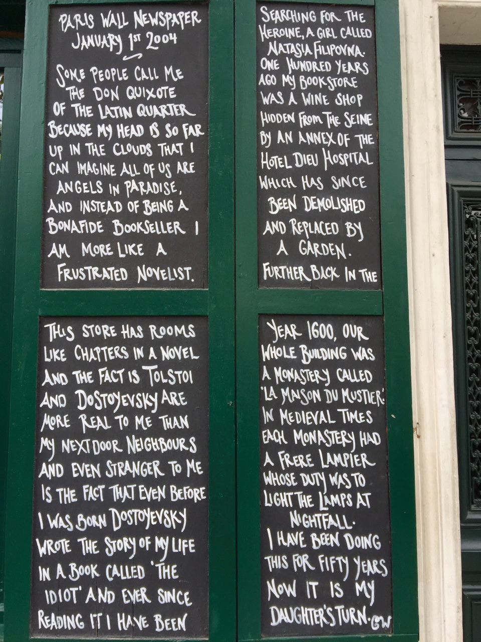 Located on the outer walls of the Shakespeare & Company Bookstore - Paris, France