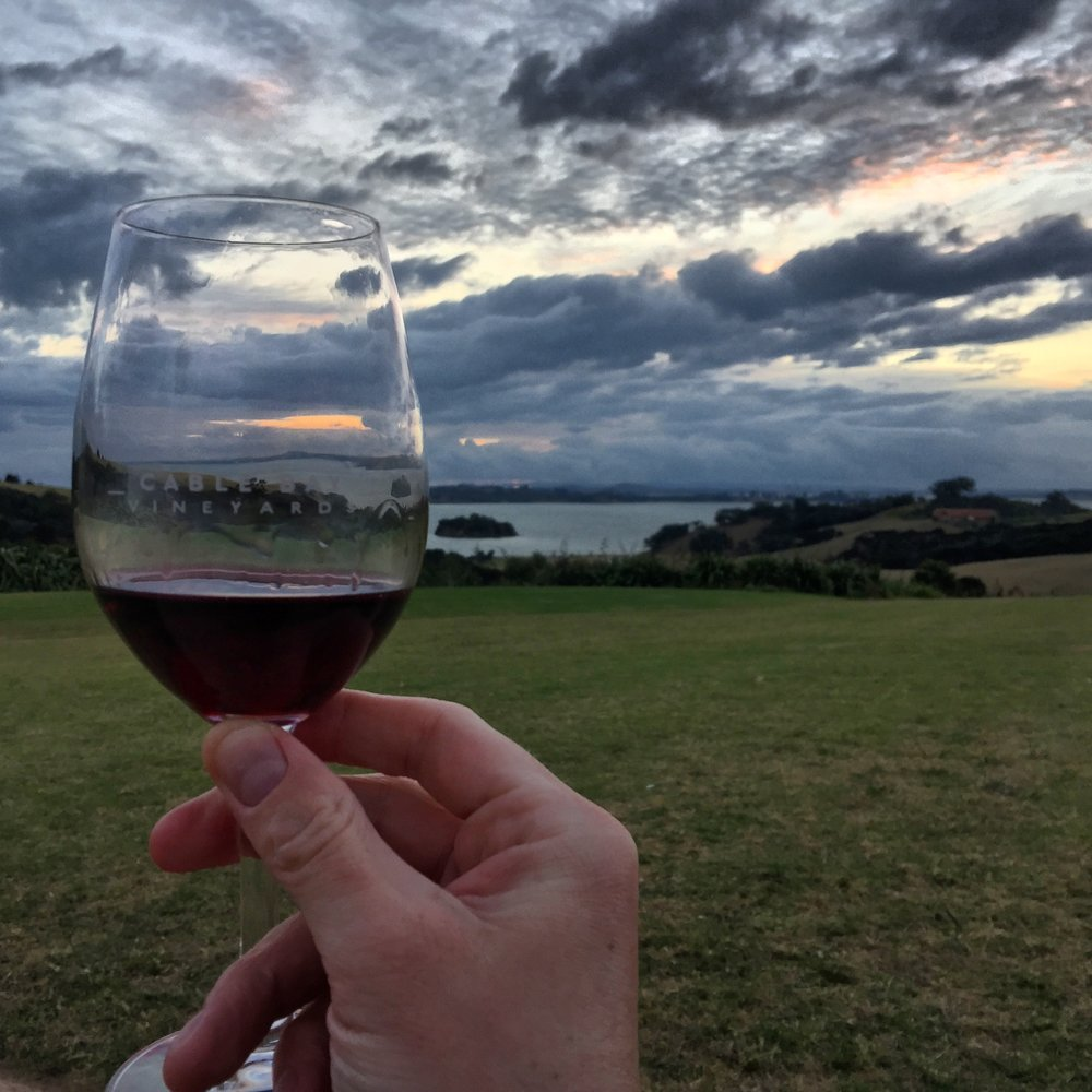 View from the lawn facing out towards Auckland across the ocean at Cable Bay Vineyards on Waiheke Island.