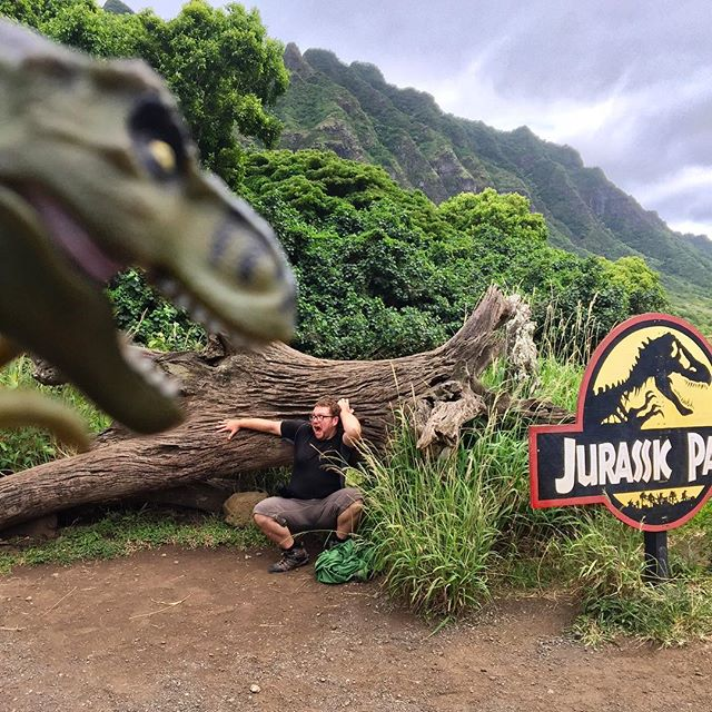 I was warned to stay away from the Jurassic World 2 set. I'm not a very good listener 😱. #kualoaranch #hawaii #jurassicpark #jurassicworld #movieset #imadeitoutalive